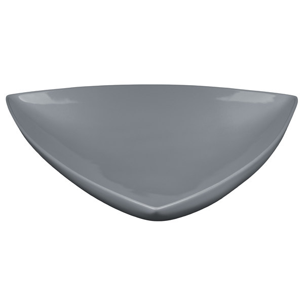 "Tablecraft CW11006GY 11"" Gray Cast Aluminum Triangle Display Bowl"
