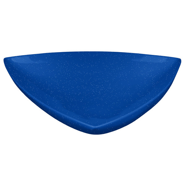 """Tablecraft CW11006BS 11"""" Blue Speckle Cast Aluminum Triangle Display Bowl"""