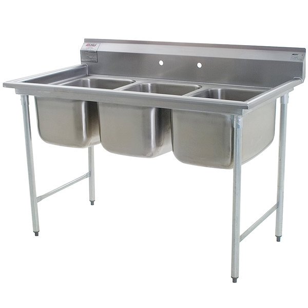 Eagle Group 314-16-3 Three Compartment Stainless Steel Commercial Sink without Drainboards - 58 3/4""