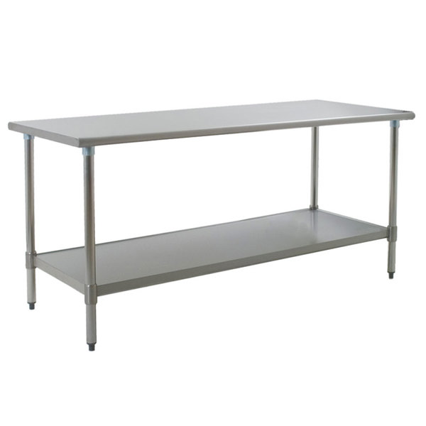 """Eagle Group T3672EB 36"""" x 72"""" Stainless Steel Work Table with Galvanized Undershelf"""