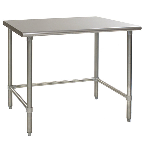 """Eagle Group T3648GTB 36"""" x 48"""" Open Base Stainless Steel Commercial Work Table"""