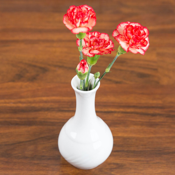 "CAC GAD-BV Garden State 1 1/2"" x 5 1/2"" Bone White Porcelain Bud Vase - 48/Case Main Image 5"