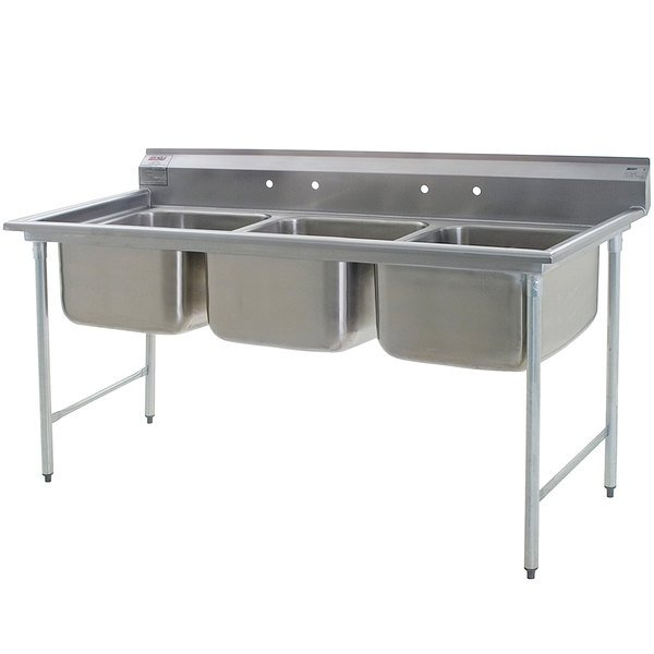 """Eagle Group 314-24-3 Three Compartment Stainless Steel Commercial Sink without Drainboards - 83 1/2"""" Main Image 1"""
