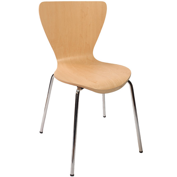 BFM Seating JA602CH-NT Leo Stackable Chrome Side Chair with Natural Laminate Seat and Back