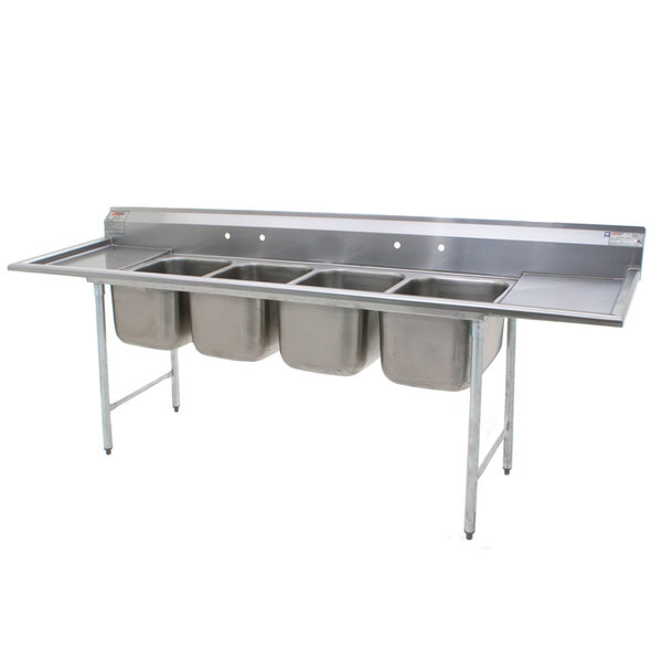 """Eagle Group 314-16-4-18 Four Compartment Stainless Steel Commercial Sink with Two Drainboards - 107 3/4"""" Main Image 1"""