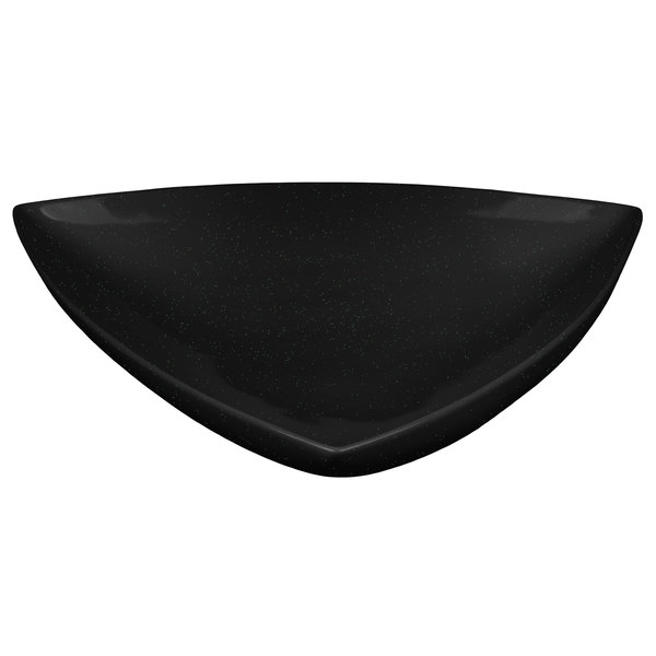 """Tablecraft CW11006BKGS 11"""" Black with Green Speckle Cast Aluminum Triangle Display Bowl"""
