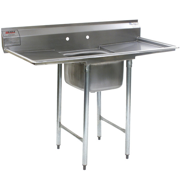 """Eagle Group 412-16-1-18 One 16"""" Bowl Stainless Steel Commercial Compartment Sink with Two 18"""" Drainboards"""
