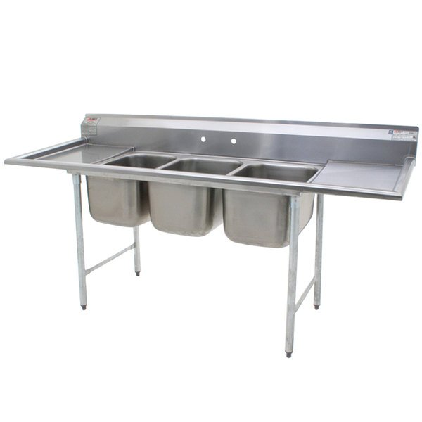 """Eagle Group 414-16-3-18 Three 16"""" Bowl Stainless Steel Commercial Compartment Sink with Two 18"""" Drainboards"""