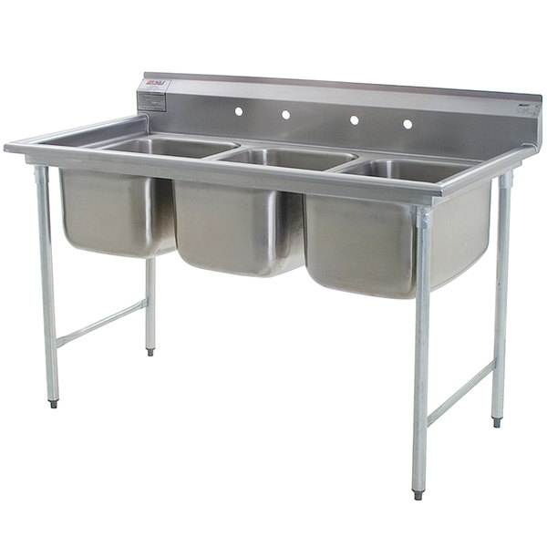 """Eagle Group 414-18-3 Three 18"""" Bowl Stainless Steel Commercial Compartment Sink"""