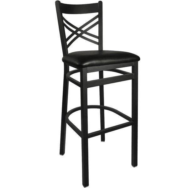 "BFM Seating 2130BBLV-SB Akrin Metal Barstool with 2"" Black Vinyl Seat Main Image 1"