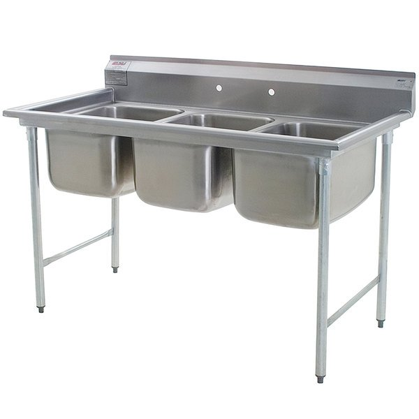 "Eagle Group 414-16-3 Three 16"" Bowl Stainless Steel Commercial Compartment Sink"