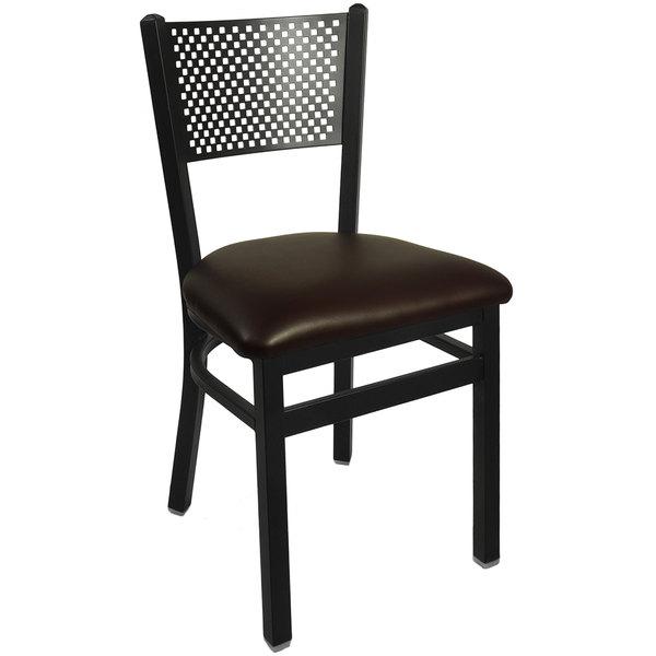 """BFM Seating 2161CDBV-SB Polk Sand Black Steel Side Chair with 2"""" Dark Brown Vinyl Seat Main Image 1"""