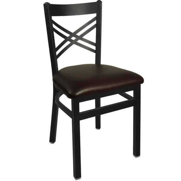 "BFM Seating 2130CDBV-SB Akrin Metal Chair with 2"" Dark Brown Vinyl Seat Main Image 1"