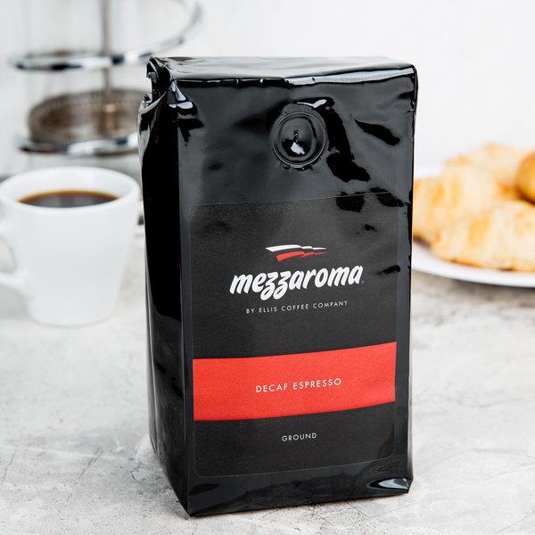 Ellis Mezzaroma 12 oz. Dark Decaf Ground Espresso - 6/Case