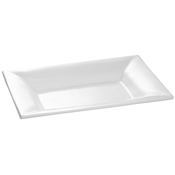 "Tablecraft CW12027W 18"" x 13"" White Cast Aluminum Wide Rim Rectangle Platter"