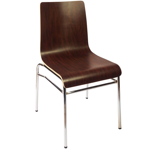 BFM Seating JA600CH-MH Abby Mahogany Laminate Side Chair with Chrome Frame Main Image 1