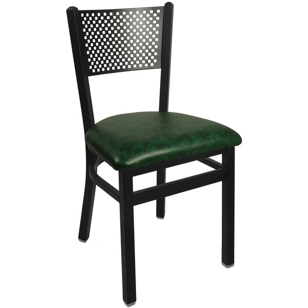 "BFM Seating 2161CGNV-SB Polk Sand Black Steel Side Chair with 2"" Green Vinyl Seat"
