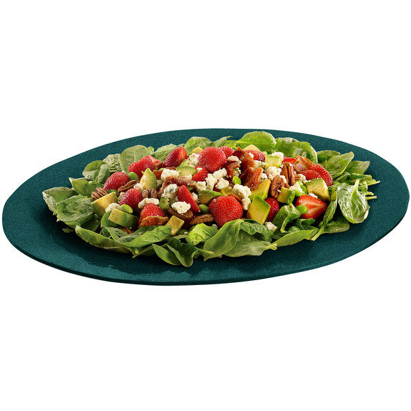 """Tablecraft CW12025HGNS 19"""" x 15"""" Hunter Green with White Speckle Cast Aluminum Wide Rim Oval Display Platter"""