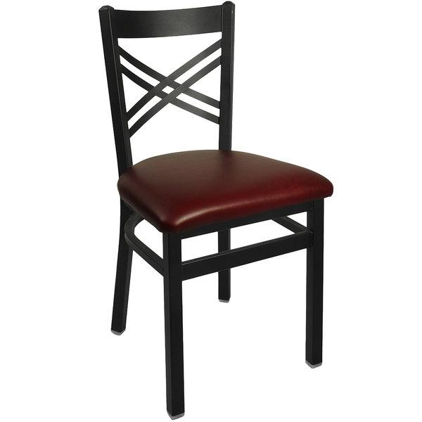 "BFM Seating 2130CBV-SB Akrin Metal Chair with 2"" Burgundy Vinyl Seat"