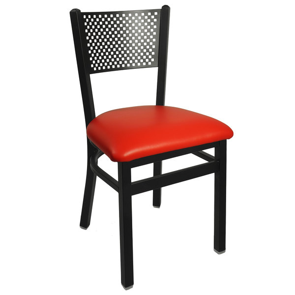 "BFM Seating 2161CRDV-SB Polk Sand Black Steel Side Chair with 2"" Red Vinyl Seat"