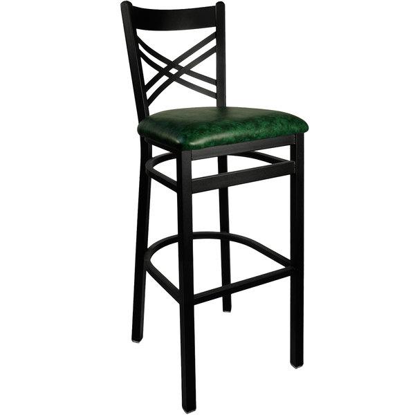 "BFM Seating 2130BGNV-SB Akrin Metal Barstool with 2"" Green Vinyl Seat Main Image 1"