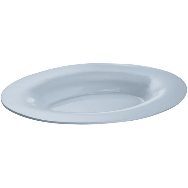 Tablecraft CW12025GY 19 inch x 15 inch Gray Cast Aluminum Wide Rim Oval Display Platter