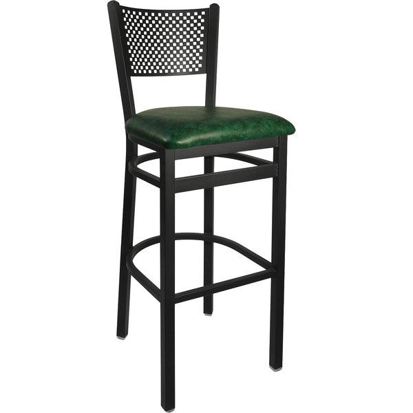 "BFM Seating 2161BGNV-SB Polk Sand Black Steel Bar Height Chair with 2"" Green Vinyl Seat Main Image 1"