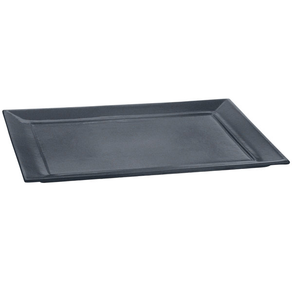 """Tablecraft CW3620MBS 15"""" x 18"""" Midnight with Blue Speckle Cast Aluminum Rectangle Platter"""