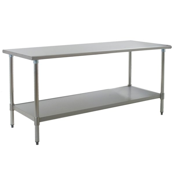 """Eagle Group T3672E 36"""" x 72"""" Stainless Steel Work Table with Galvanized Undershelf"""