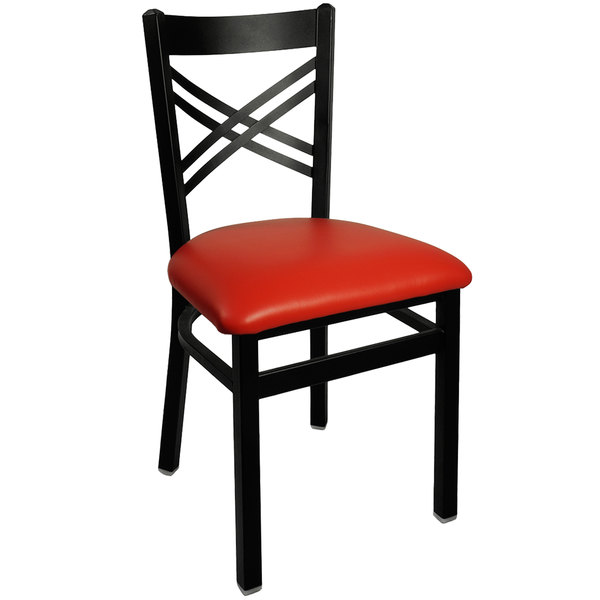 "BFM Seating 2130CRDV-SB Akrin Metal Chair with 2"" Red Vinyl Seat Main Image 1"