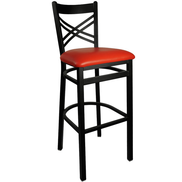 "BFM Seating 2130BRDV-SB Akrin Metal Barstool with 2"" Red Vinyl Seat Main Image 1"