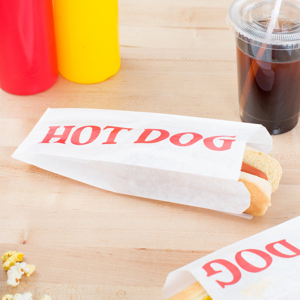 "Carnival King 3 1/2"" x 1 1/2"" x 9"" Printed Paper Hot Dog Bag - 1000/Case"