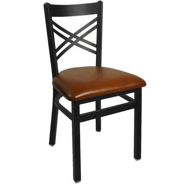 "BFM Seating 2130CLBV-SB Akrin Metal Chair with 2"" Light Brown Vinyl Seat"