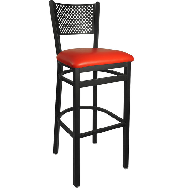 "BFM Seating 2161BRDV-SB Polk Sand Black Steel Bar Height Chair with 2"" Red Vinyl Seat"