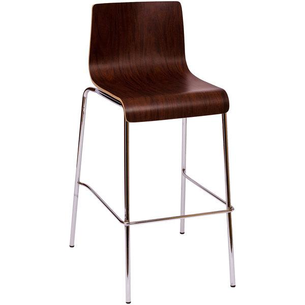 BFM Seating JA600BS-MH Abby Mahogany Laminate Barstool with Chrome Frame Main Image 1