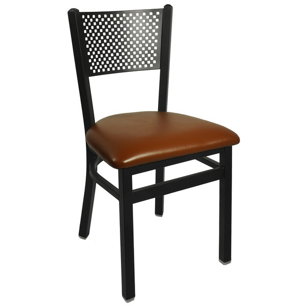 "BFM Seating 2161CLBV-SB Polk Sand Black Steel Side Chair with 2"" Light Brown Vinyl Seat"