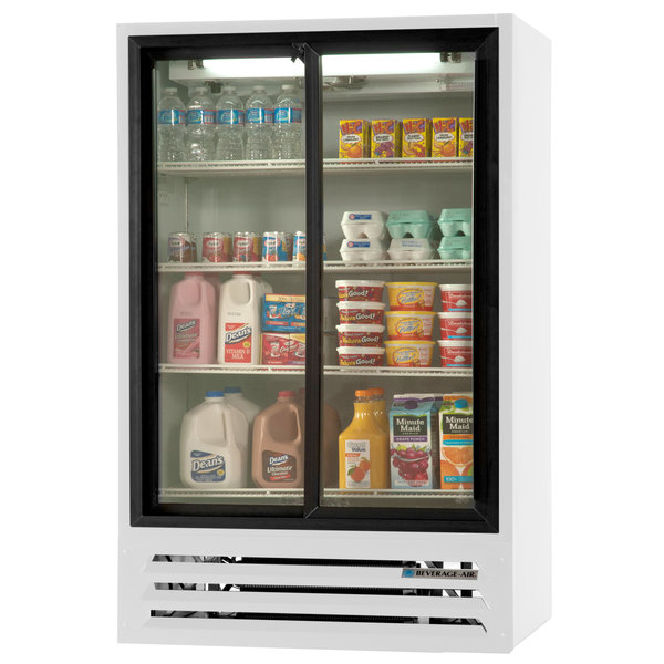 "Beverage-Air LV17HC-1-W 36"" White Lumavue Refrigerated Sliding Glass Door Merchandiser"