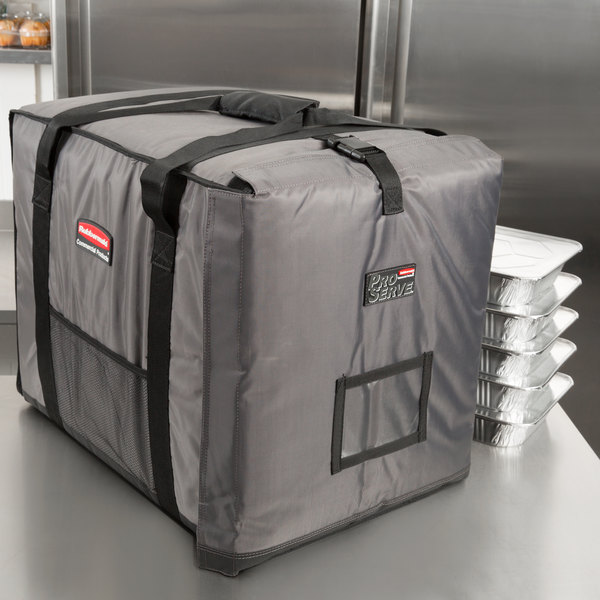 """Rubbermaid FG9F1300CGRAY ProServe Insulated Food Pan Carrier End Load Full Size Gray Nylon 27"""" x 19 1/2"""" x 22 1/2"""""""