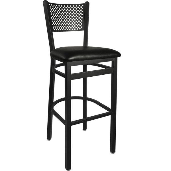 "BFM Seating 2161BBLV-SB Polk Sand Black Steel Bar Height Chair with 2"" Black Vinyl Seat"