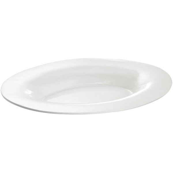 Tablecraft CW12025W 19 inch x 15 inch White Cast Aluminum Wide Rim Oval Display Platter