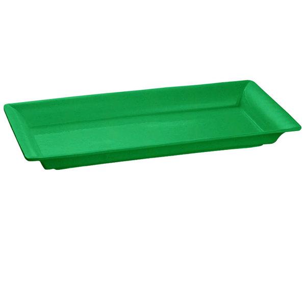 Tablecraft CW2110GN Green 21 inch x 12 inch Cast Aluminum Large Rectangle Platter