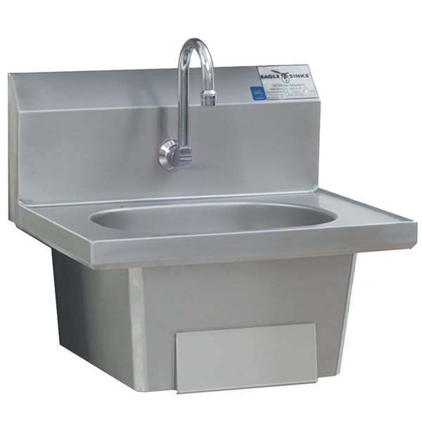 Eagle Group HSA-10-FKP Knee Operated Wall Mount Hand Sink with Gooseneck, Single Knee Pedal, Skirt, and Basket Drain