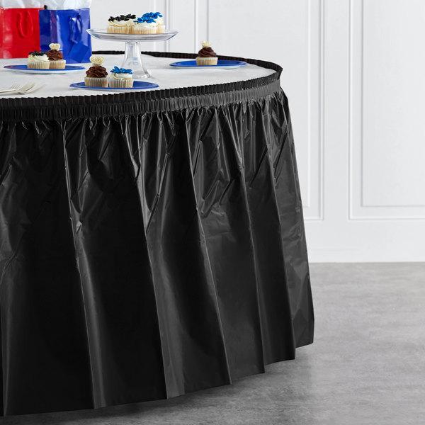 """Creative Converting 10012 14' x 29"""" Black Velvet Plastic Table Skirt Main Image 4"""