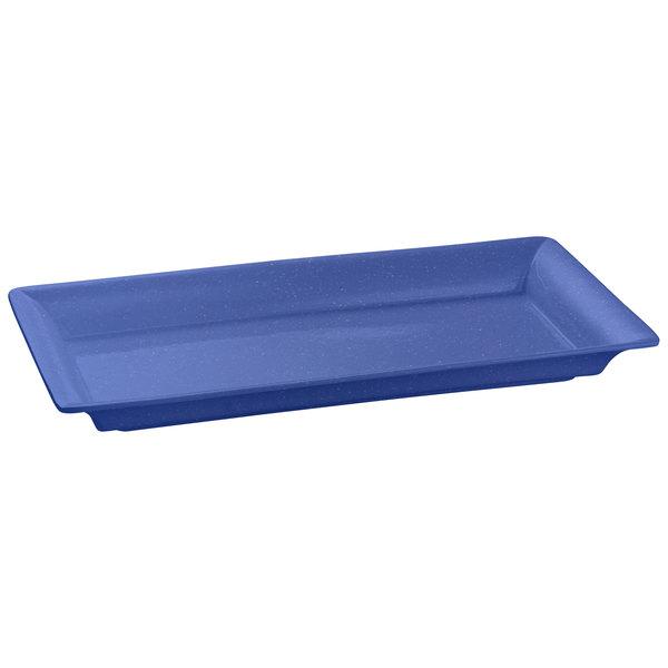 "Tablecraft CW2110BS Blue Speckle 21"" x 12"" Cast Aluminum Large Rectangle Platter"