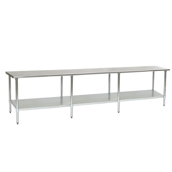 """Eagle Group T30132SEB 30"""" x 132"""" Stainless Steel Work Table with Undershelf"""