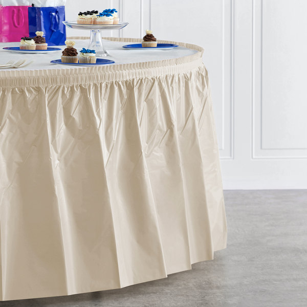 "Creative Converting 10032 14' x 29"" Ivory Plastic Table Skirt Main Image 4"