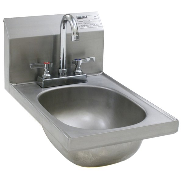 Eagle group hsand 10 f space saver hand sink with deck mount eagle group hsand 10 f space saver hand sink with deck mount gooseneck faucet and basket drain workwithnaturefo