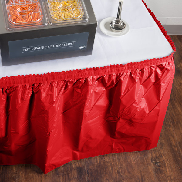 """Creative Converting 10052 14' x 29"""" Classic Red Plastic Table Skirt"""