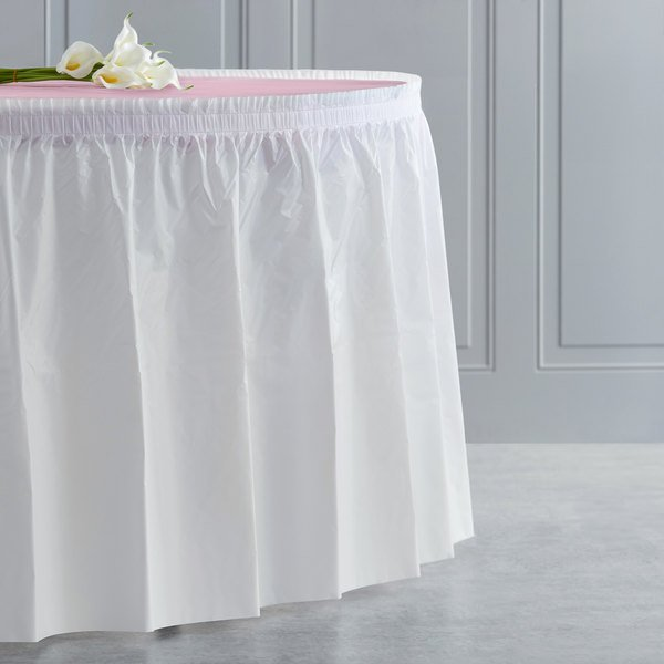 "Creative Converting 010047C 14' x 29"" White Plastic Table Skirt Main Image 4"