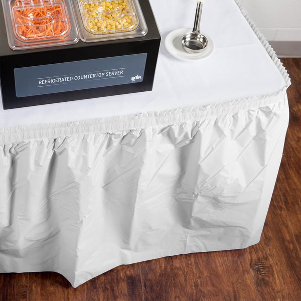 "Creative Converting 010047C 14' x 29"" White Plastic Table Skirt"